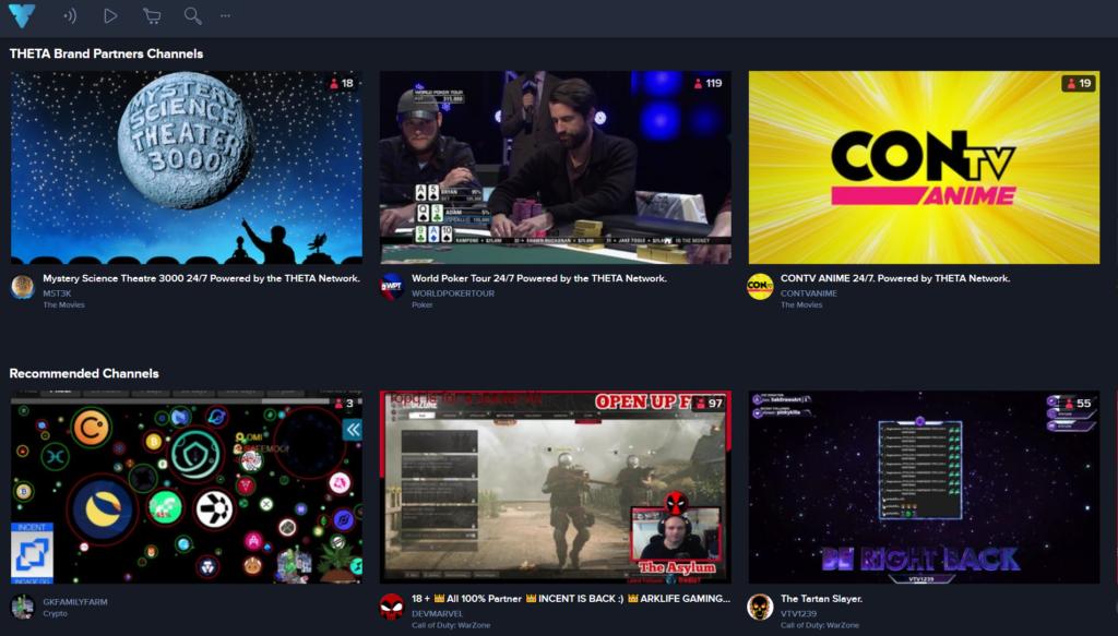 The Theta platform showcasing its top channels