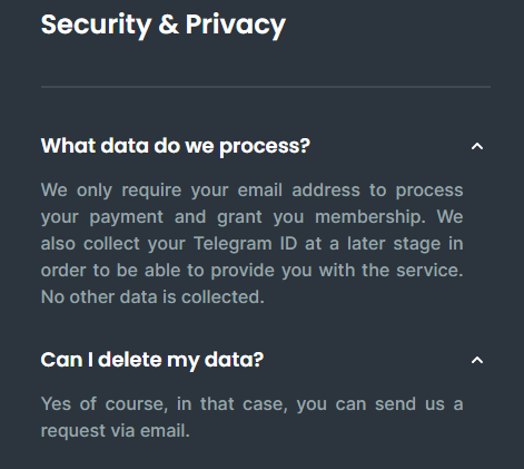 Security and Privacy features of CryptoAlarm.