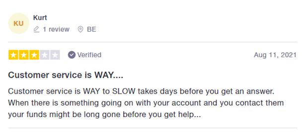 Customer saying customer service is slow.