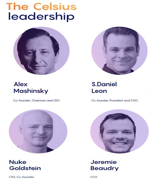 Celsius leadership team's profiles.