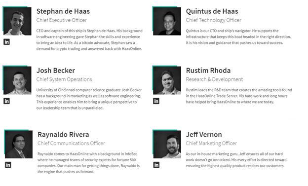 The team members' profiles.