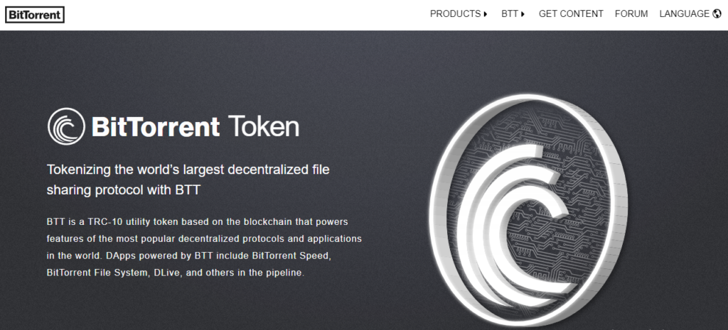 Home page of the BitTorrent Token