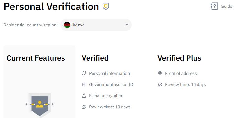 Image showing Binance account verification