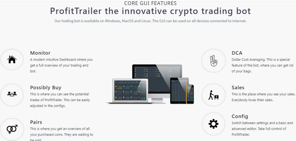 GUI features of ProfitTrailer trading bot.