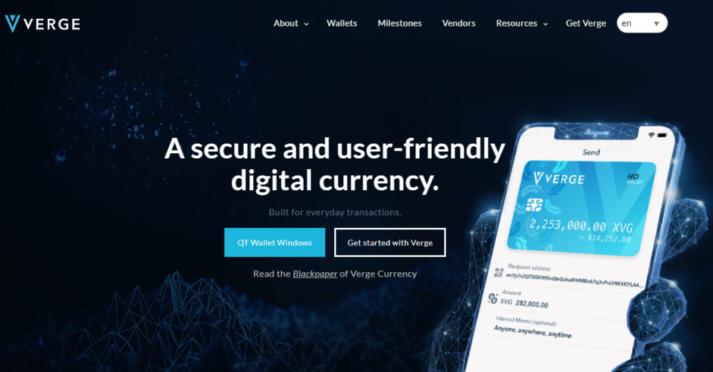 Home page of Verge