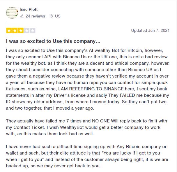 User review for WealthyBot on Trustpilot.