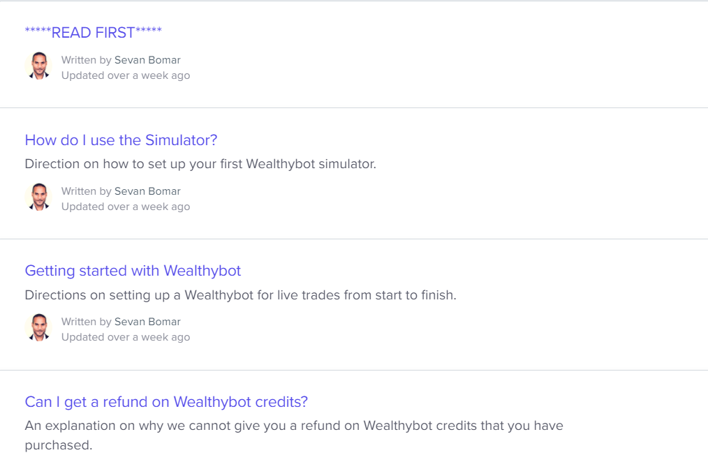Help docs for WealthyBot on the official website.